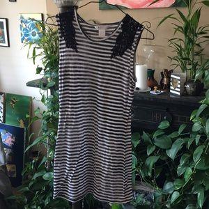 Candies S black & white striped dress